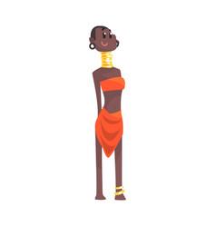 Black skinned woman aborigine with metal rings on vector