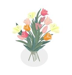 Bouquet of tulips in glass vase vector