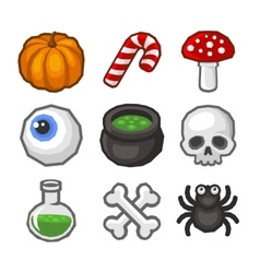 Cartoon style halloween icon set vector