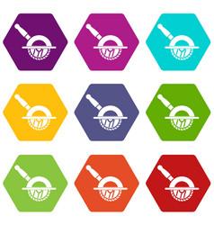 Circular saw icon set color hexahedron vector