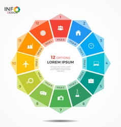 Colorful infographic template with circle chart 12 vector