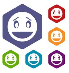 confused emoticon icons set vector image vector image