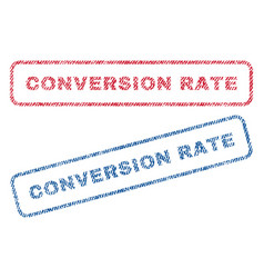 Conversion rate textile stamps vector