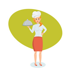 cook in branded clothes standing with tray in hand vector image