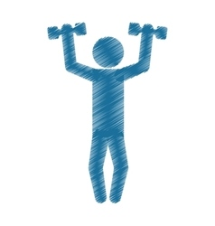 Drawing colored silhouette man lifting dumbbell vector