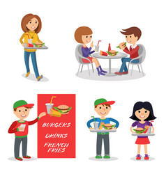 Fast food restaurant people figures isolated on vector