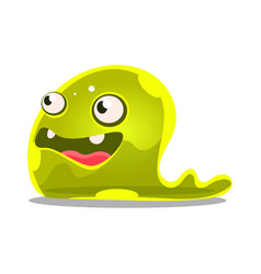 Funny cartoon green slimy monster cute jelly vector