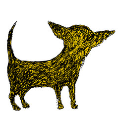 funny silhouette of a chihuahua dog doodle style vector image