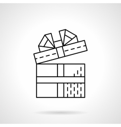 Gift black flat line icon vector image