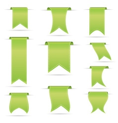 green hanging curved ribbon banners set eps10 vector image vector image