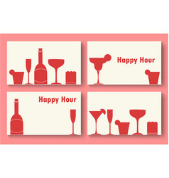 Happy hour business cards set vector