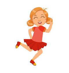 Happy little girl running and smiling in red dress vector