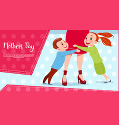 Happy mother day son and daughter embracing mom vector