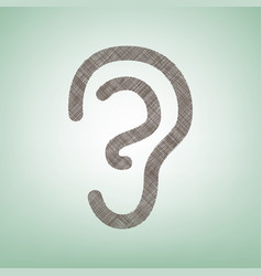 Human anatomy ear sign brown flax icon vector