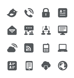 internet communication icon set vector image