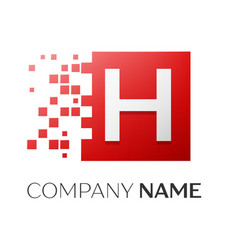 letter h logo symbol in the colorful square with vector image vector image
