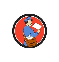 Mailman deliver letter circle cartoon vector
