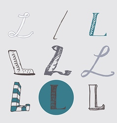 Original letters l set isolated on light gray vector