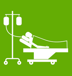 patient in bed on a drip icon green vector image