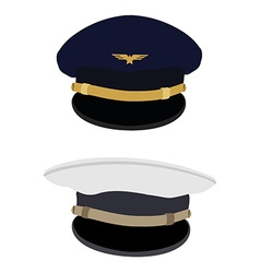 Pilot and navy captain hat vector image vector image