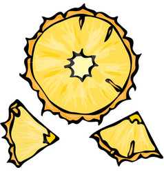pineapple slice doodle style background vector image vector image