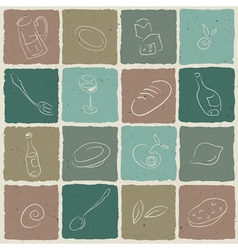 restaurant icons tiled retro background vector image