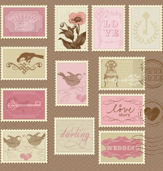 retro postage stamps - for invite vector image vector image