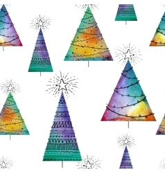 Seamless christmas pattern with watercolor vector image