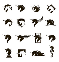 set of unicorn heads vector image vector image