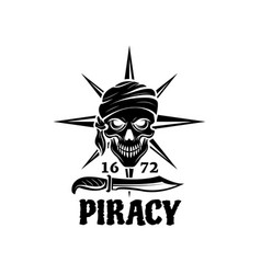 skull of pirate in bandana icon for tattoo design vector image vector image