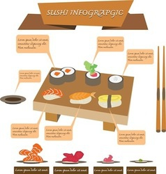sushi infographics set vector image vector image