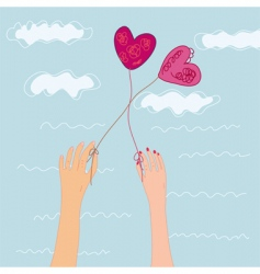 two hand with heats balloons vector image