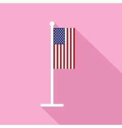 USA Flag on Flagstaff Flat Icon vector image vector image
