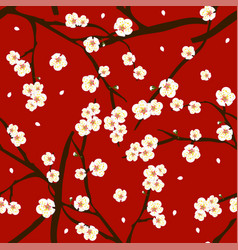 white plum blossom flower on red background vector image vector image
