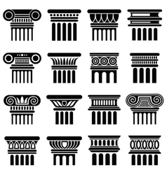 Ancient rome architecture column icons vector