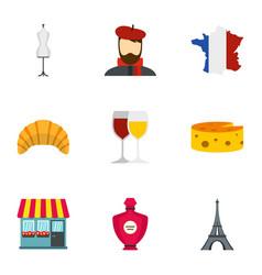 symbols of france icons set flat style vector image