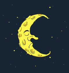 Sleeping crescent moon at the night sky vector