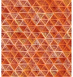 Ornate hand-drawn brown triangles pattern vector