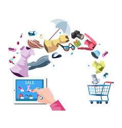 Web store market with purchasing product process vector