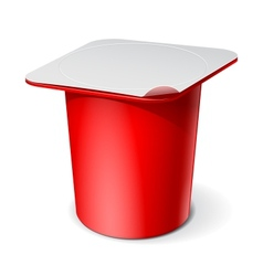 Red realistic white blank plastic container for vector