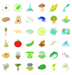 biology and ecology icons set cartoon style vector image