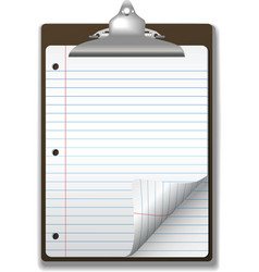 clipboard school ruled note pad vector image