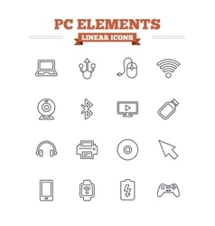 Computer elements linear icons set thin outline vector