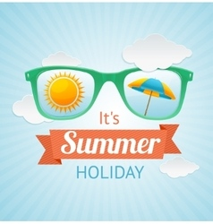 Sunglasses summer card background vector