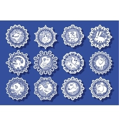Characters Chinese zodiac signs in the snowflake vector image