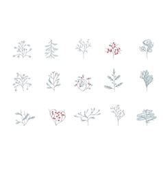 Set of different contour winter trees isolated on vector