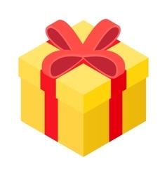 Yellow present box isometric icon vector