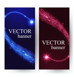 Vertical banners with shining falling stars in the vector image