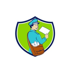 Mailman deliver letter crest cartoon vector