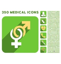 Sexual symbols icon and medical longshadow icon vector